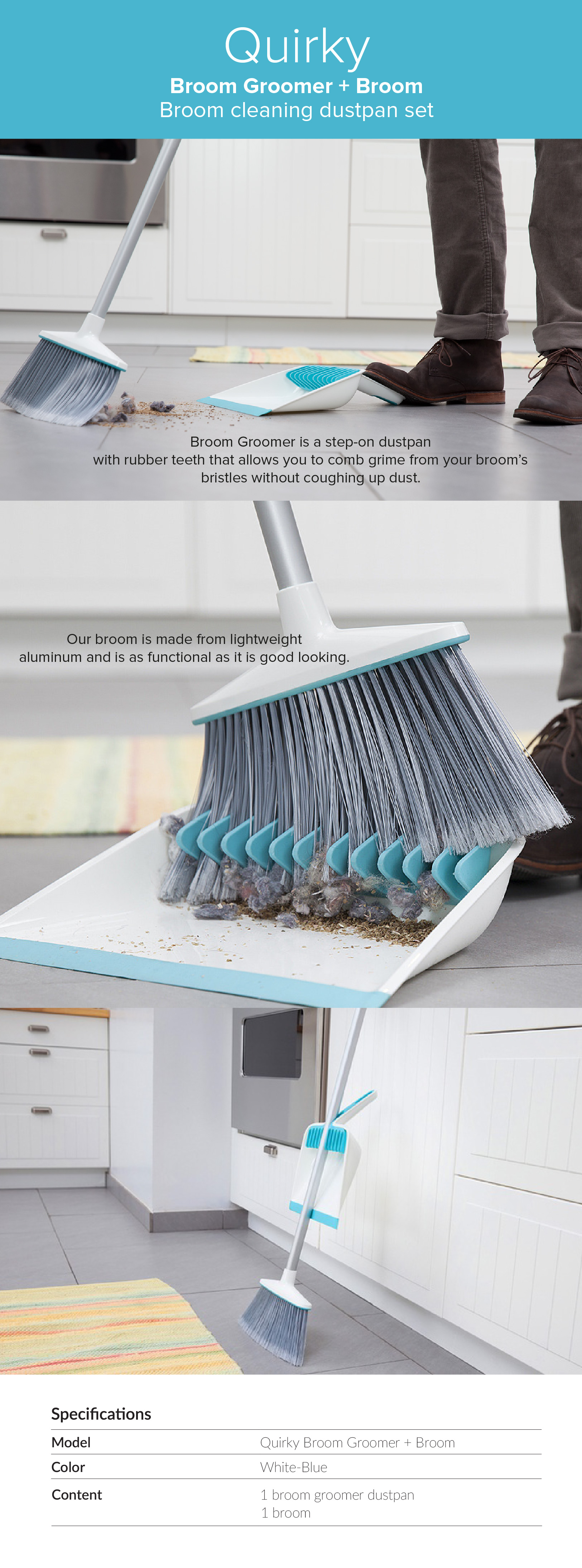 Quirky Broom Groomer With Broom(Broom-Cleaning Dustpan Set) PD