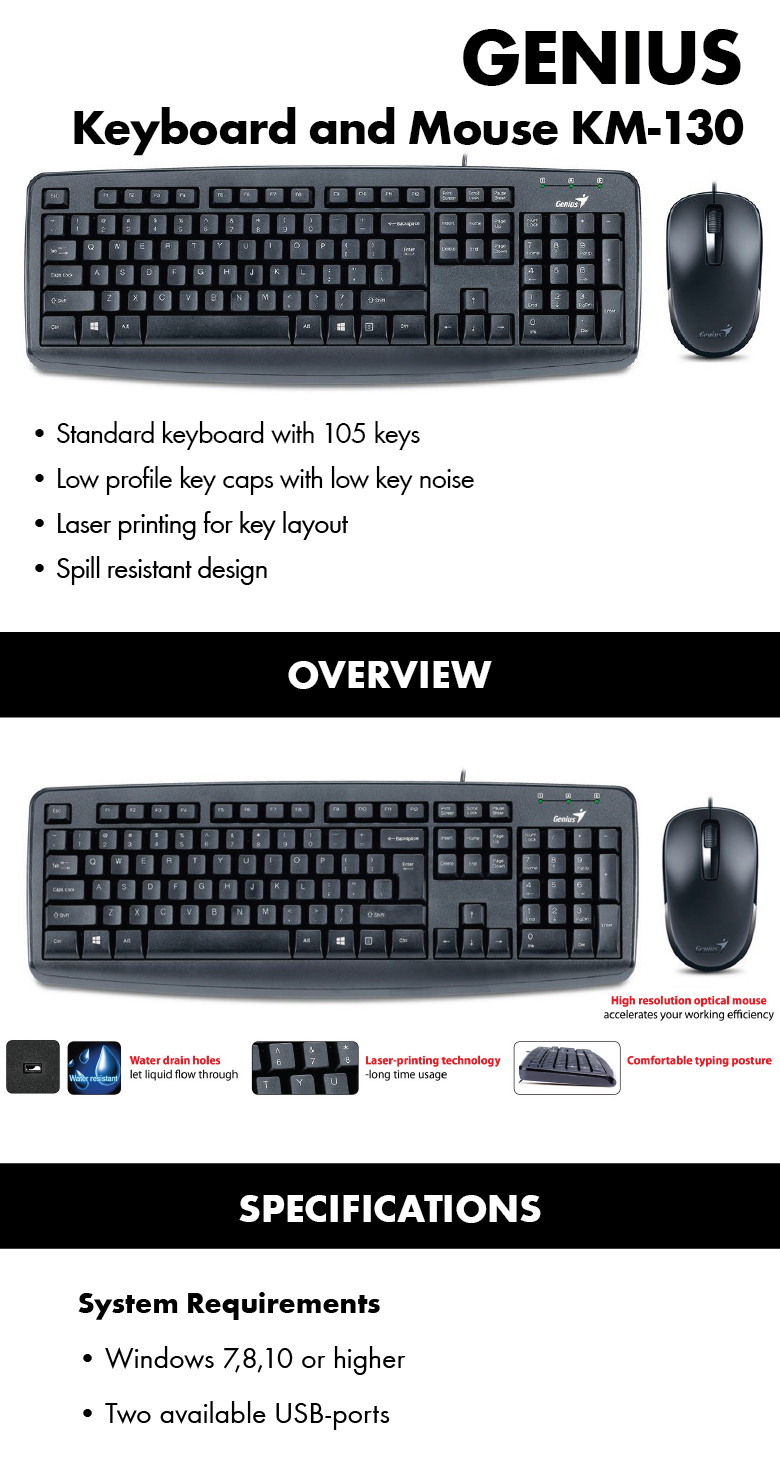 Genius Keyboard And Mouse Km130 Dhause I608x Pen With Drawing Pad Pd