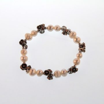 ELEGENT Shell Faux Pearl Stretchable Bead Charm Bracelet