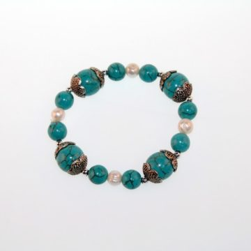 EXQUISITE 10mm Turquoise Stone with Pearl Bracelet