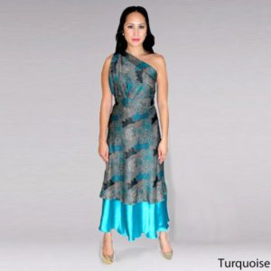 Handmade Premium Silk Double-Layer Wrap Dress (Turquoise)-min