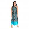 Handmade Premium Silk Double-Layer Wrap Dress (Turquoise)-min