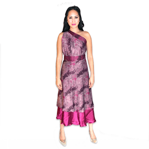 Handmade Premium Silk Double-Layer Wrap Dress (Purple)